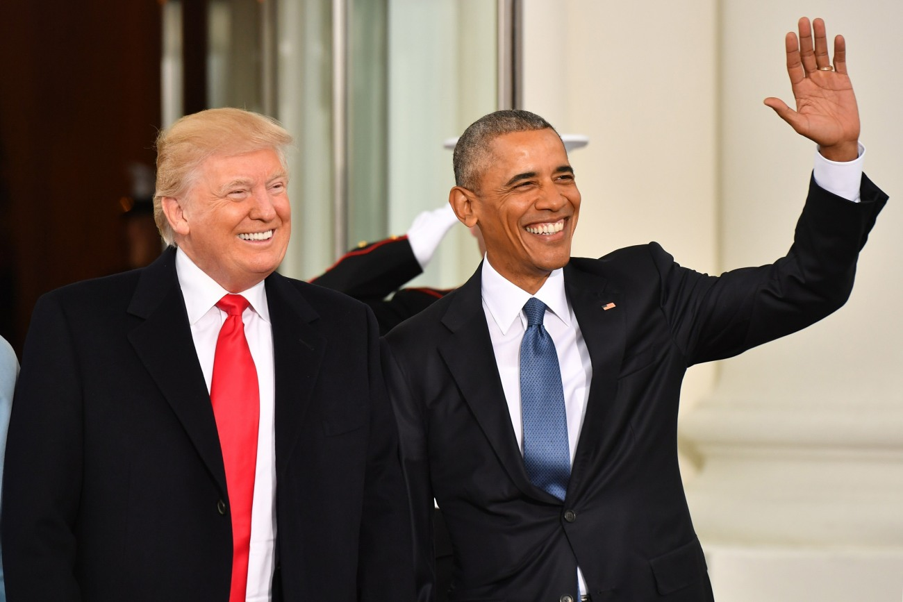 Barack Obama and Donald Trump arrive for the inauguration of President-elect Donald Trump