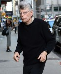 Stephen King rushes into his appearance on 'The Late Show With Stephen Colbert'