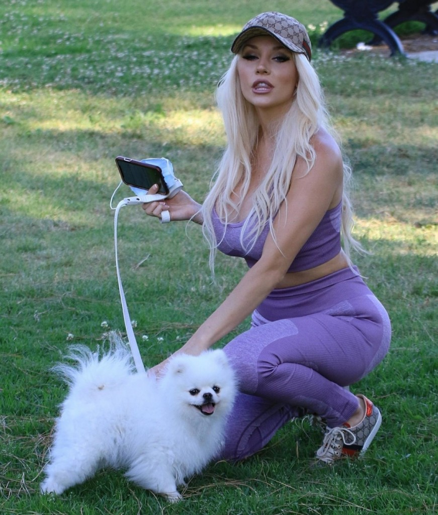 Courtney Stodden walks her dog in Moorpark in Studio City