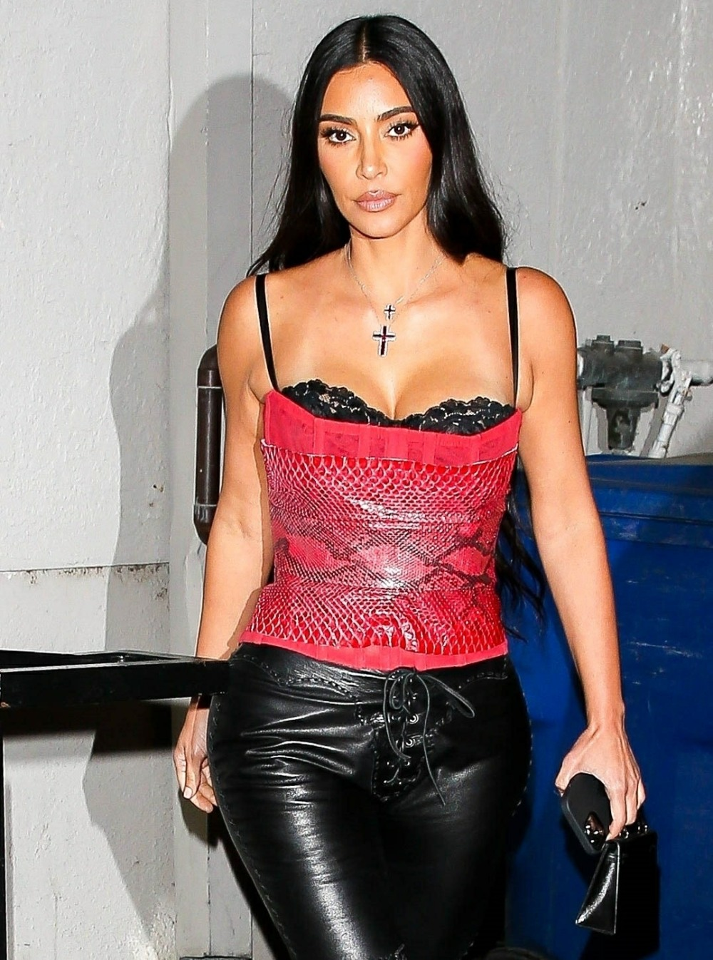Kim Kardashian sizzles in red snakeskin while leaving a late dinner in LA!