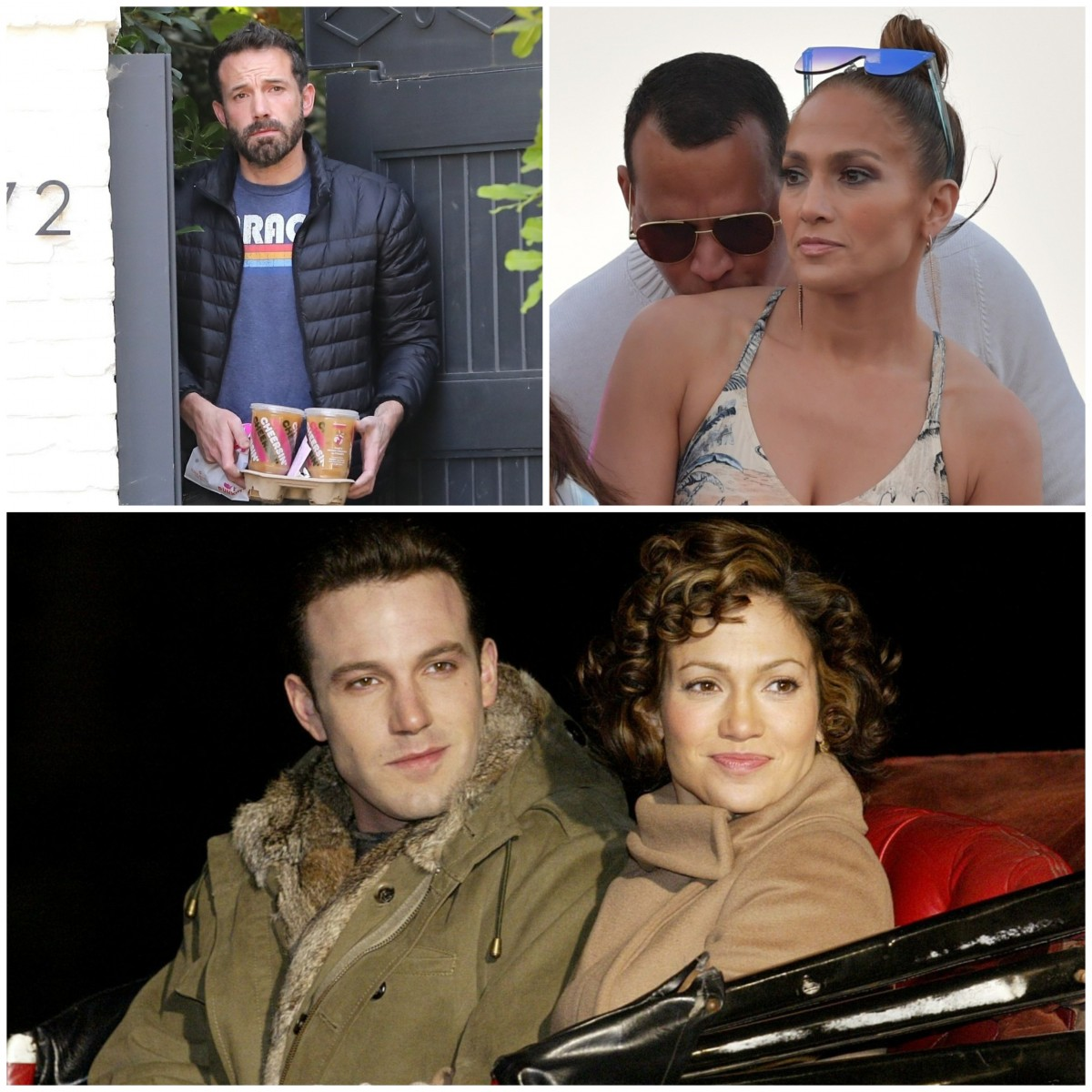 Ben Affleck, Jennifer Lopez and Alex Rodriguez collage