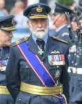 HRH Prince Michael of Kent  inspects the guard of honour  at the Royal Parade, Royal International Air Tattoo, Fairford, Gloucestershire, UK