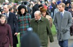 Royals walk to Sandringham Church on Christmas Day - l to r Prince William, Duchess of Cambridge, Prince Philip, Meghan Markle and Prince Harry.