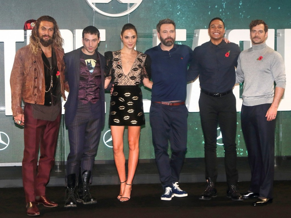 Jason Momoa, Ezra Miller, Gal Gadot, Ben Affleck, Ray Fisher and Henry Cavill at the 'Justice League' Photocall at The College in Southampton Row
