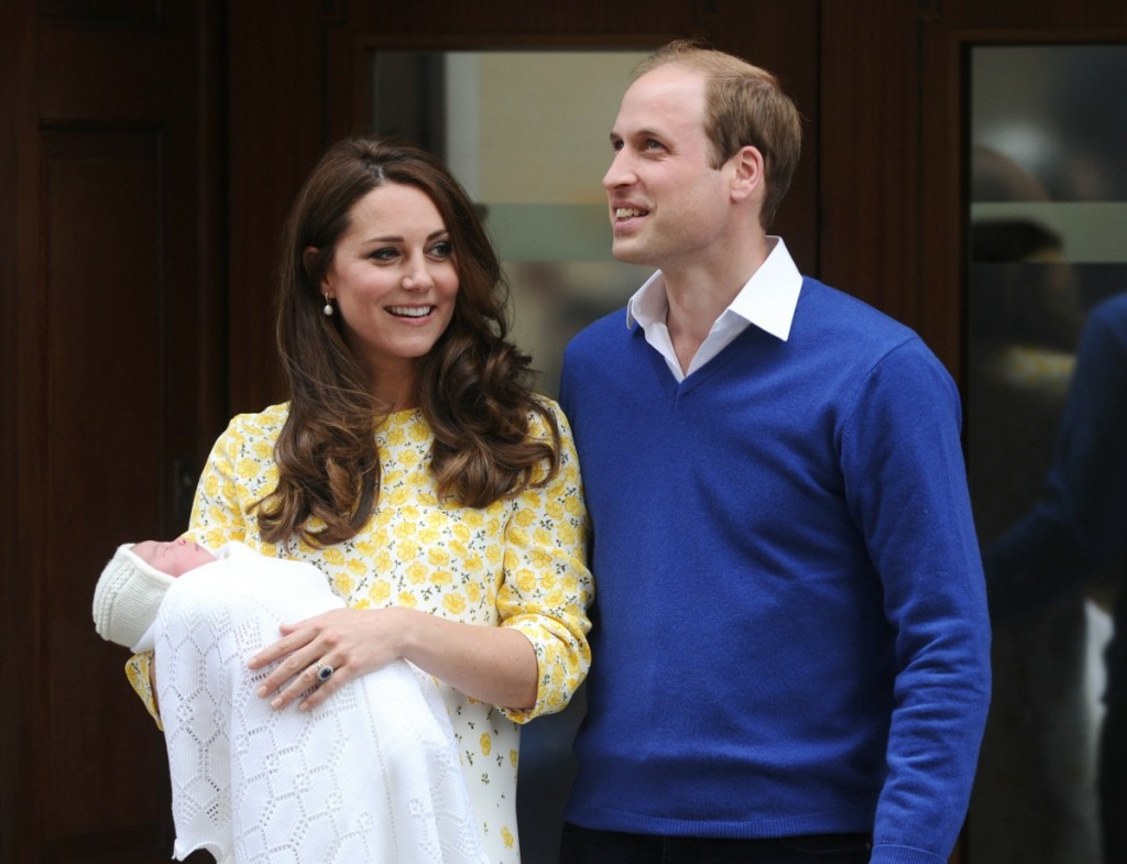 Prince William The Duke of Cambridge and Kate Middleton The Duchess of Cambridge show off their new arrival the Princess of Cambridge to the world outside the Lindo Wing of St. Mary's Hospital in Paddington, London. 2nd May 2015