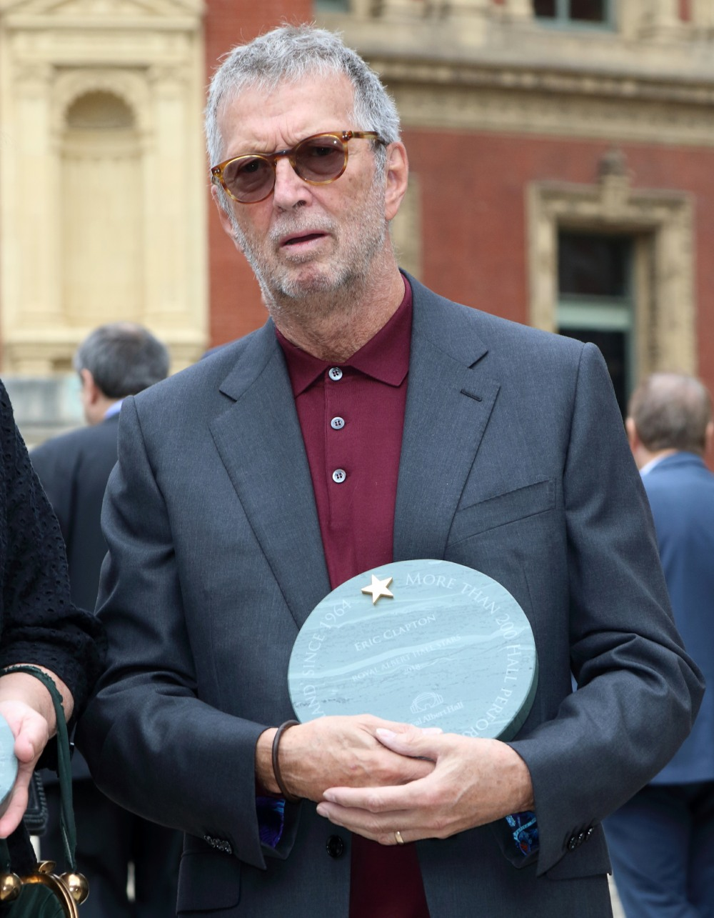 Eric Clapton at the Royal Albert Hall 'Walk Of Fame' launch, celebrating Eleven of the most illustrious names from the famous venue's stellar history. Commemorated with specially engraved stones outside the building ahead of the venue's 150th anniversary.