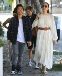 Angelina Jolie and kids are all smiles after lunch at Fig and Olive in West Hollywood