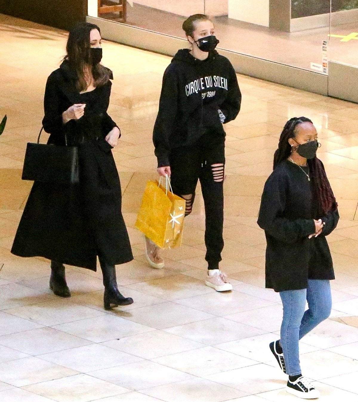 Angelina Jolie gets some shopping done with her daughters