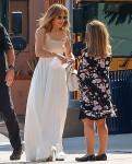 Jennifer Lopez leaves after a meeting at Windward School in LA