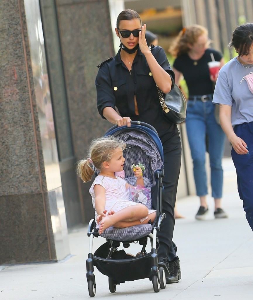 Irina Shayk heads home with her daughter after enjoying the sunshine at a local park