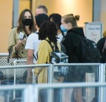 Angelina Jolie and her brood arrive at JFK airport in NYC