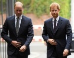Britain's Prince William and Prince Harry arrive to visit the Support4Grenfell Community Hub in London
