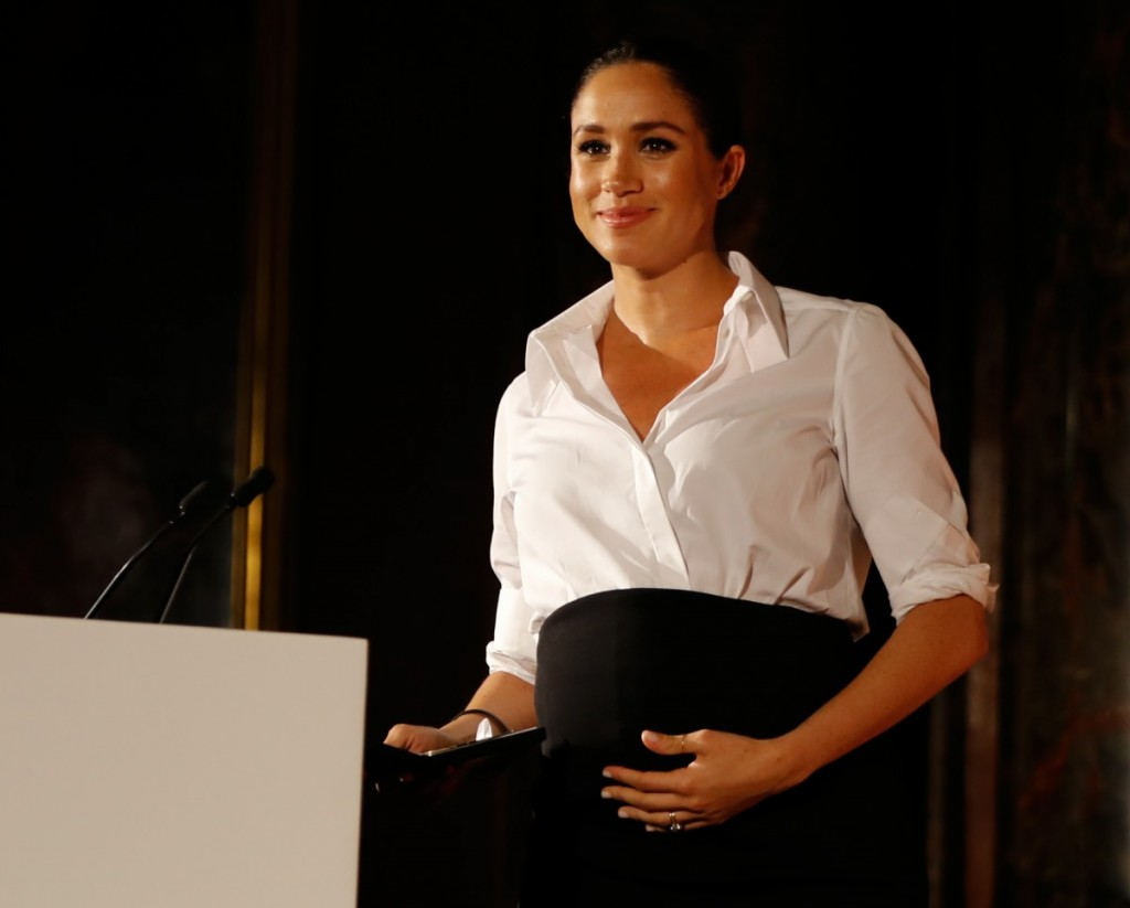 Britain's Meghan, Duchess of Sussex presents the Celebrating Excellence Award to Nathan Forster, a former soldier of the Army's Parachute Regiment, at the annual Endeavour Fund Awards at Draper?s Hall in London on February 7, 2019. - The Royal Foundation'