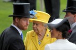 Royal Ascot, Portrait of HRH Queen Elizabeth the Second behind TRH Harry the Duke of Sussex and TRH Meghan the Duchess of Sussex
