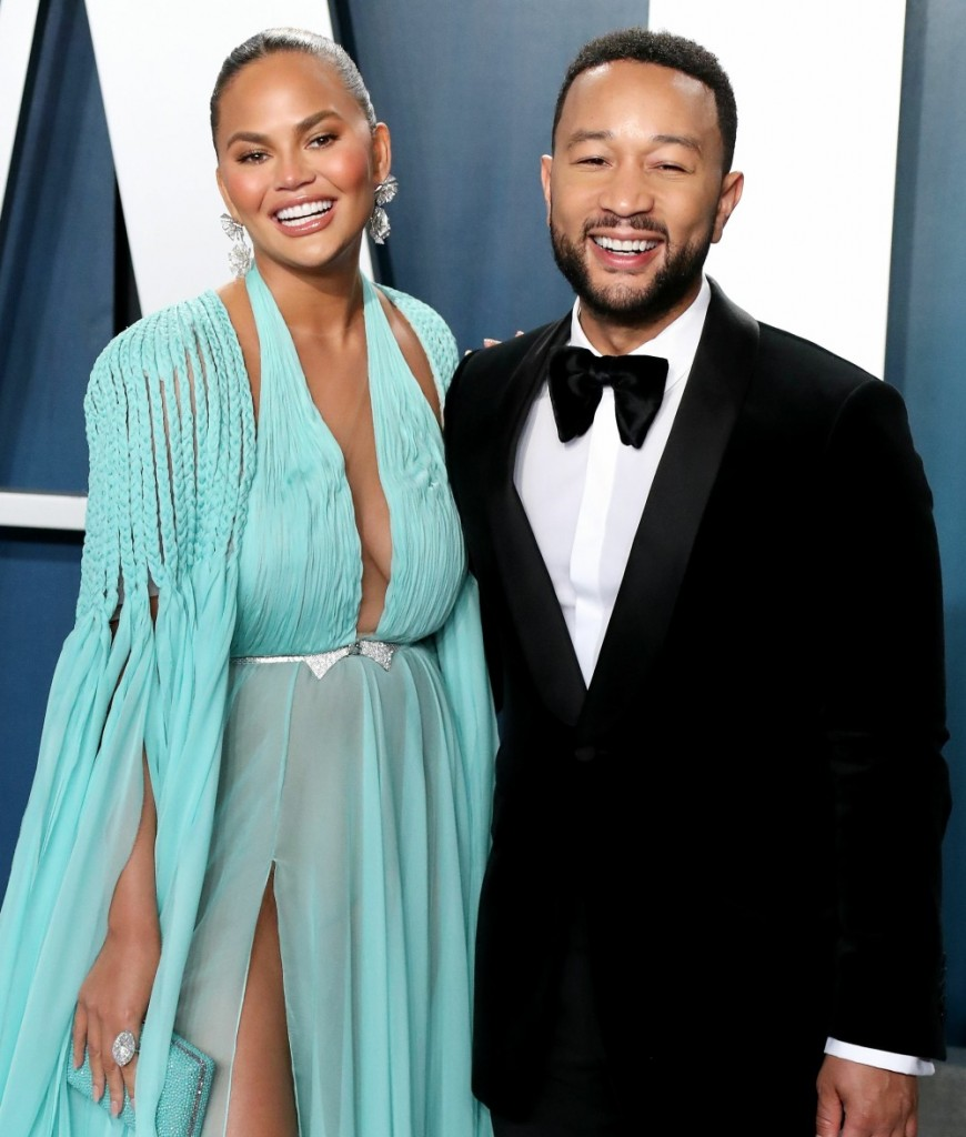 Chrissy Teigen and John Legend arrive at the 2020 Vanity Fair Oscar Party held at the Wallis Annenbe...