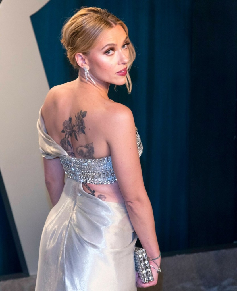 Scarlett Johansson attends the Vanity Fair Oscar Party at Wallis Annenberg Center for the Performing...
