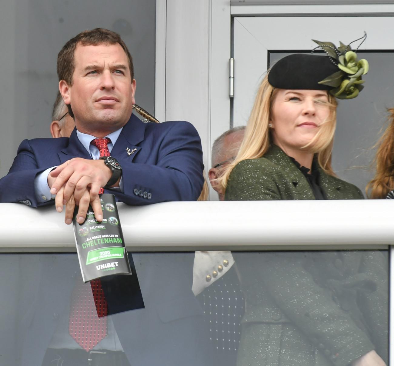 Peter and Autumn Phillips seen enjoying the racing at day one of The Festival, Cheltenham Racecourse, Prestbury, Cheltenham, Glos