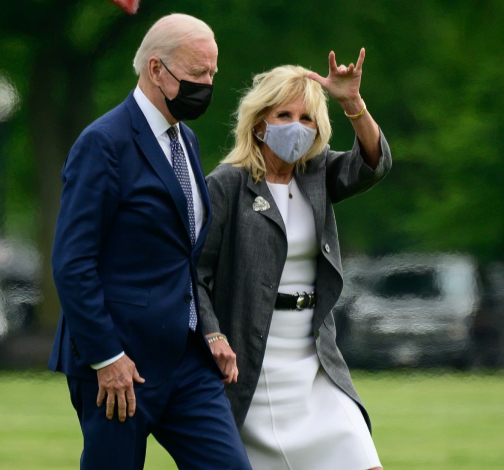 U.S. President Joe Biden and First Lady Jill Biden arrive to the White House Ellipse on Marine One after a visit to Virginia