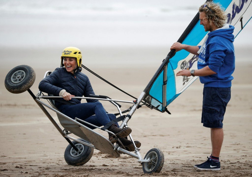 Catherine, Duchess of Cambridge try land yachting at St Andrews