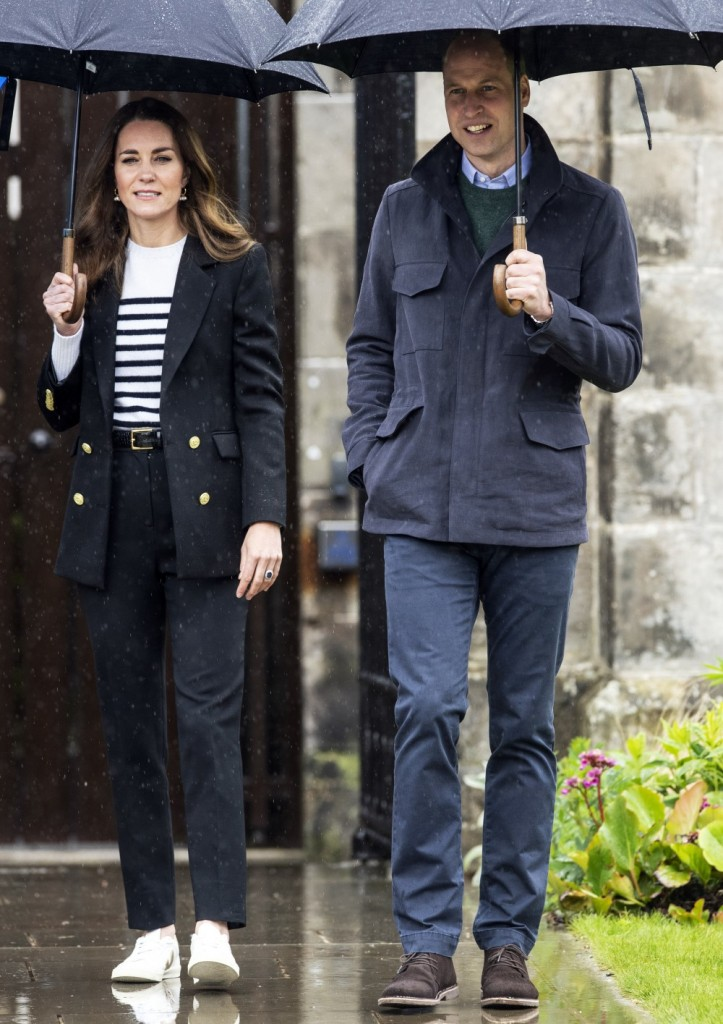 Britain's Catherine, Duchess of Cambridge and Britain's Prince William, Duke of Cambridge arrive to visit the University of St Andrews in St Andrews on May 26, 2021.