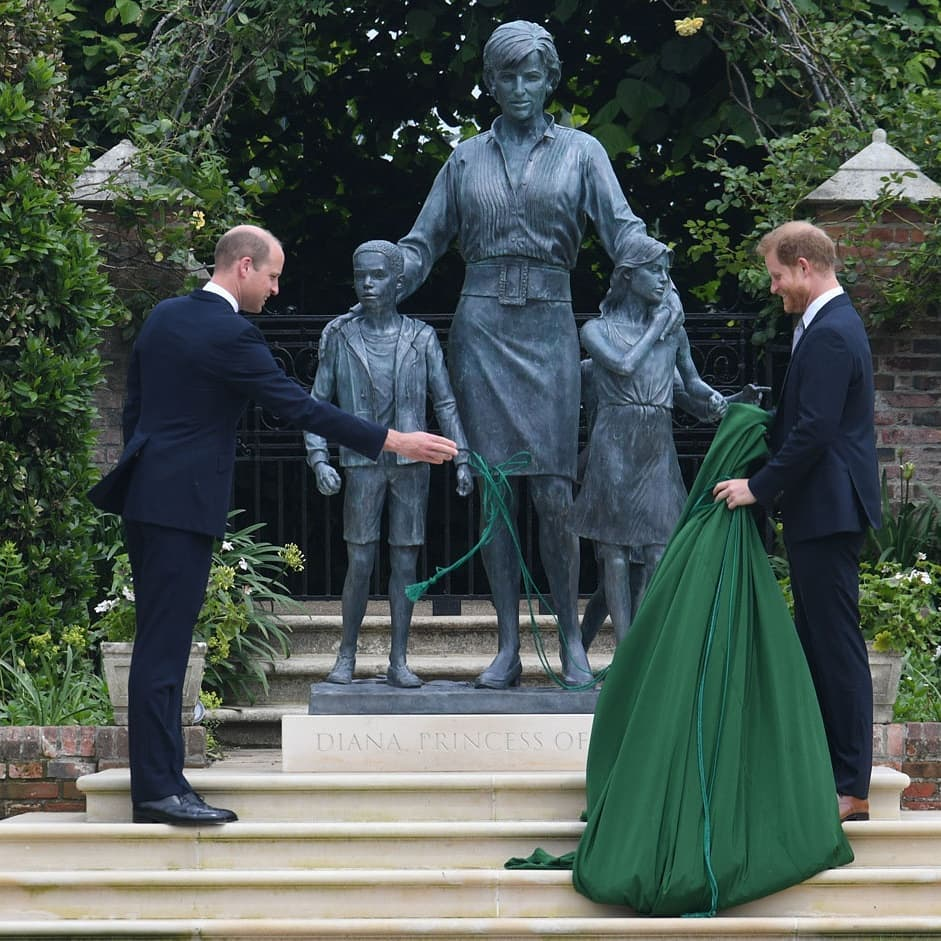 Princes Harry and William unveil the statue of their mother, the late Princess of Wales