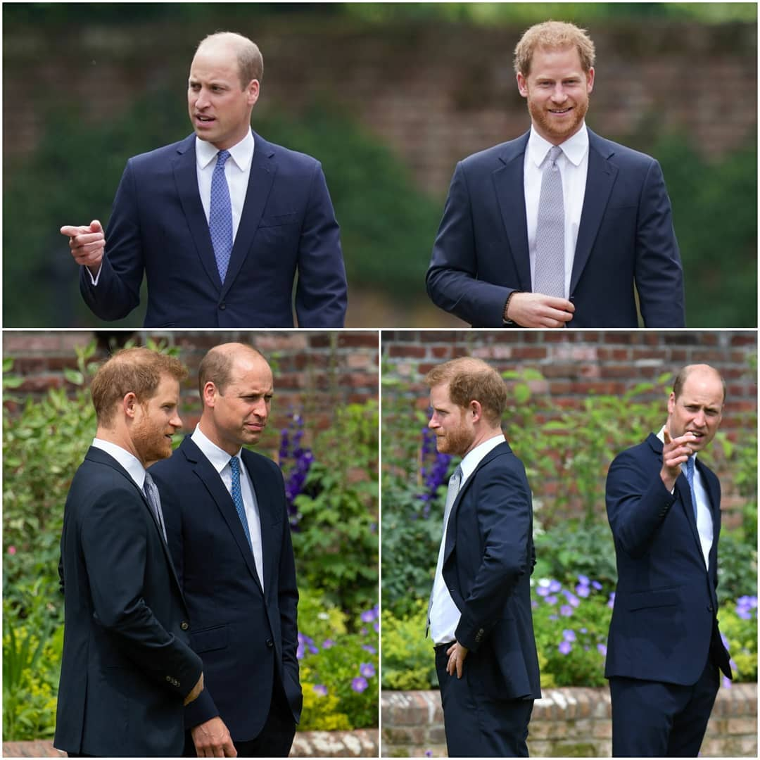 Collage of Harry and William at the statue unveiling