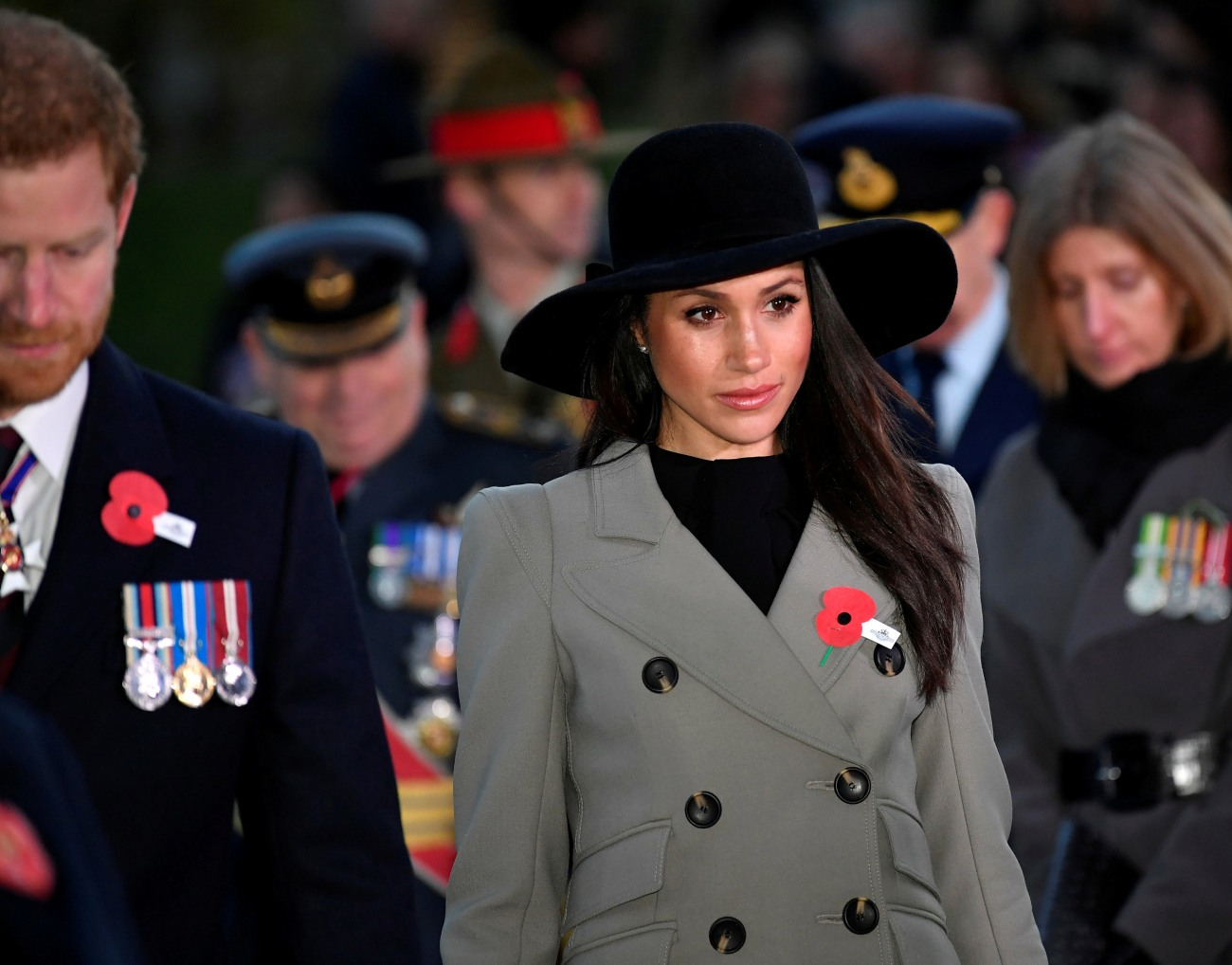 Britain's Prince Harry and his fiancee Meghan Markle commemorate Anzac Day in London