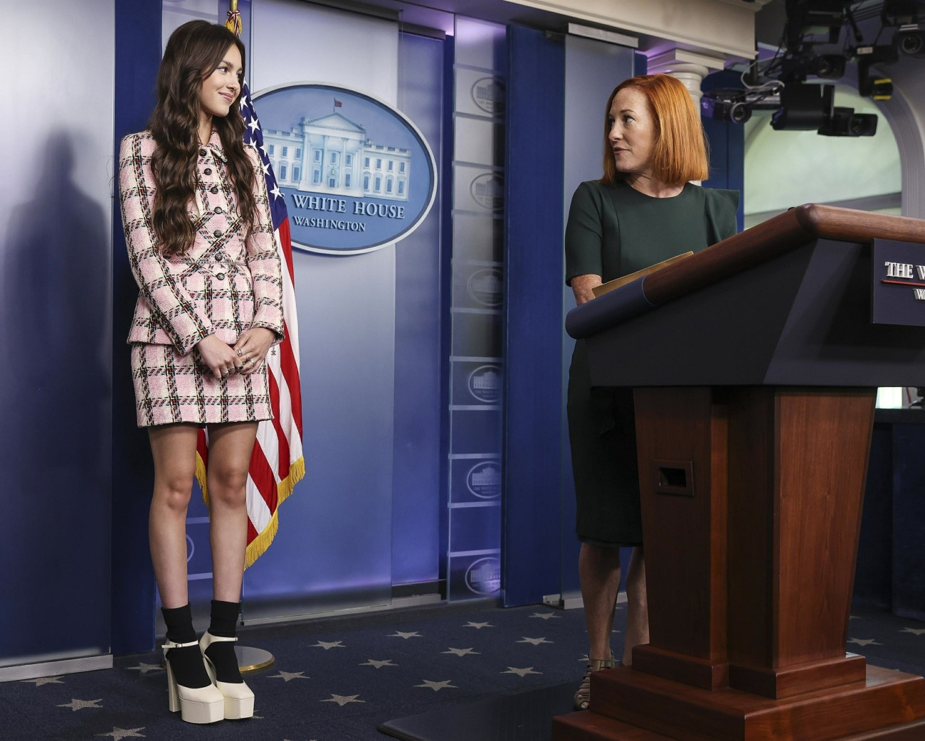 Olivia Rodrigo speaks during a news conference in the James S. Brady Press Briefing Room with Jen Psaki