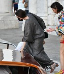Angelina Jolie spotted in the city of love and heads to a restaurant via a taxi boat in Venice