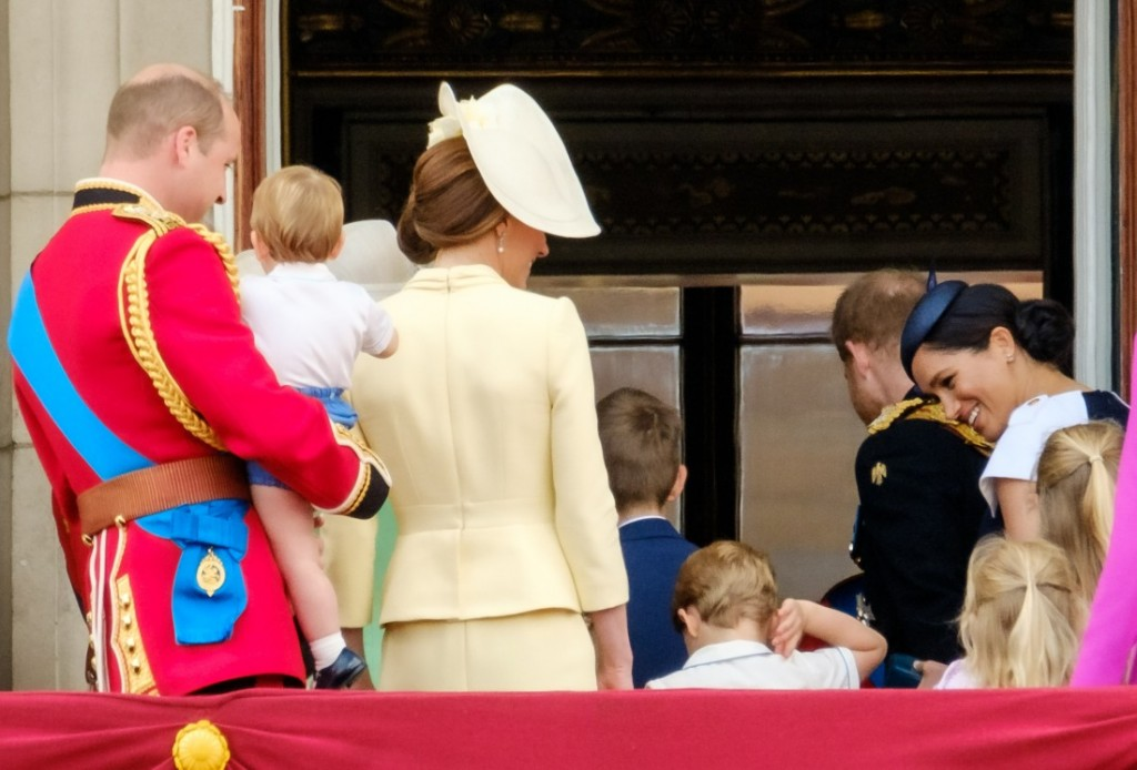 Her Majesty Queen Elizabeth II  leads the royal family inside back off the balcony following the fly-past  at Trooping the Colour on Saturday 8 June 2019