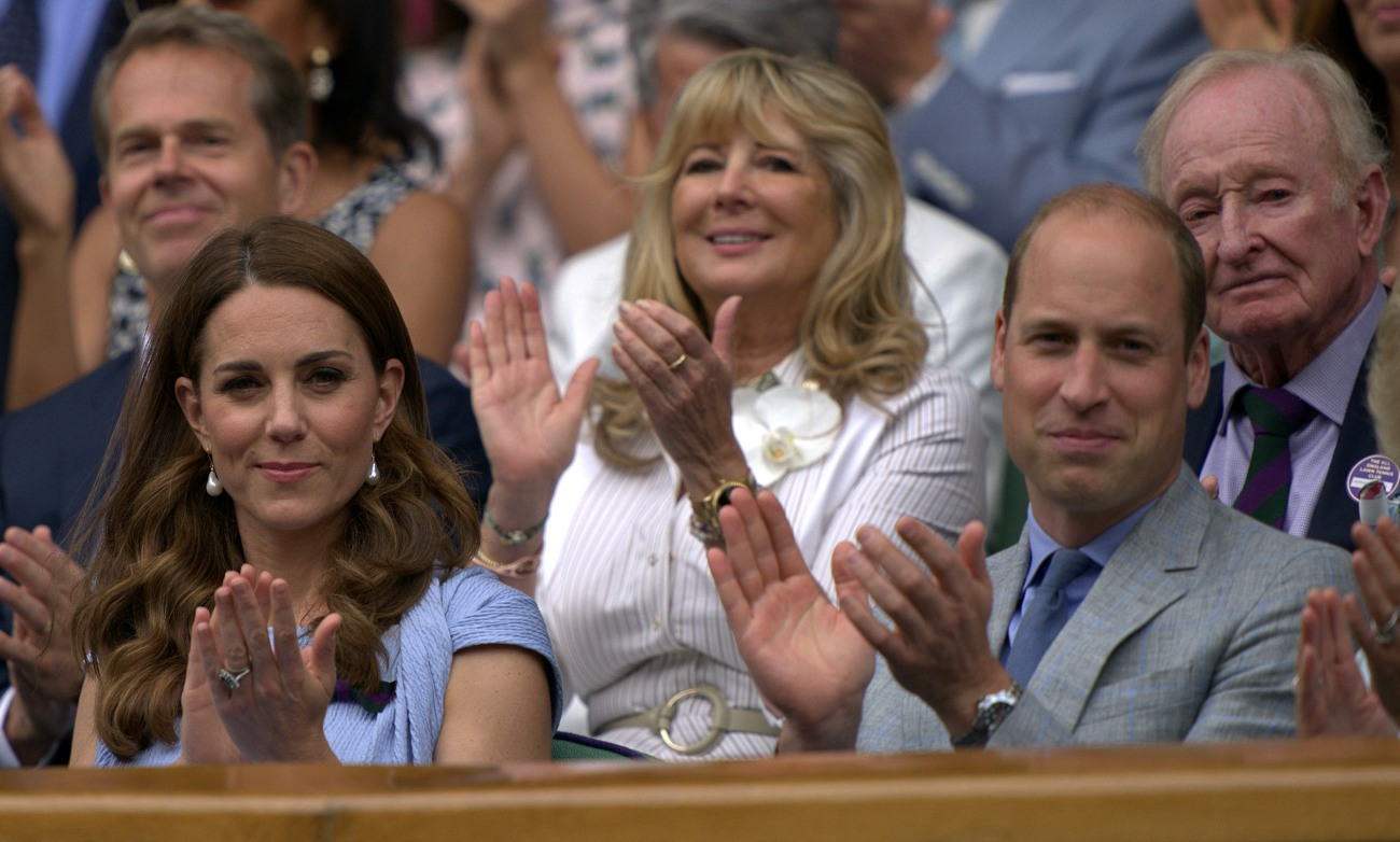 Catherine, Duchess of Cambridge, and Prince William, Duke of Cambridge, watch the Wimbledon Men's Singles Final on Centre Court.London, United Kingdom - Sunday July 14th, 2019.