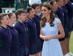 Catherine, Duchess of Cambridge, walks past the ball boys after the Wimbledon Men's Singles final.London, United Kingdom - Sunday July 14th, 2019.