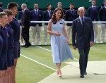 Catherine, Duchess of Cambridge, is accompanied by Prince Edward, Duke of Kent, as she walks onto Centre Court to present the Wimbledon Men's Singles trophy.London, United Kingdom - Sunday July 14th, 2019.