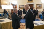 President Joe Biden participates in a Q&A townhall with Chief Medical Adviser to the President Dr. Anthony Fauci on Monday, May 17, 2021, in the Blue Room of the White House.