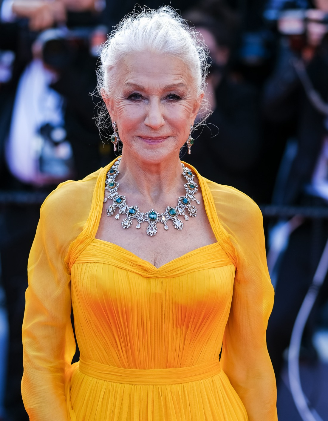 Helen Mirren poses at the Red Carpet for the Opening Night Film - Annettee during the 74th Cannes International Film Festival on Tuesday 6 July 2021