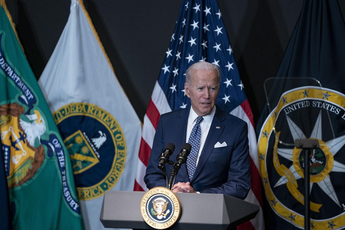 U.S. President Joe Biden delivers remarks to Intelligence Community workforce