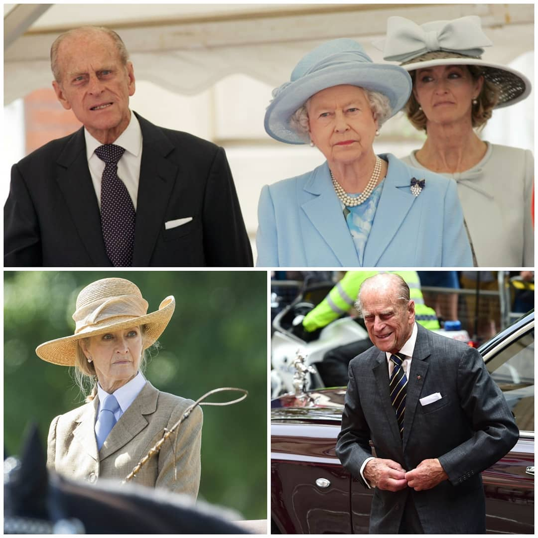 Collage of 3 photos of Penny Knatchbull and Prince Philip, including one of her with Philip and the Queen
