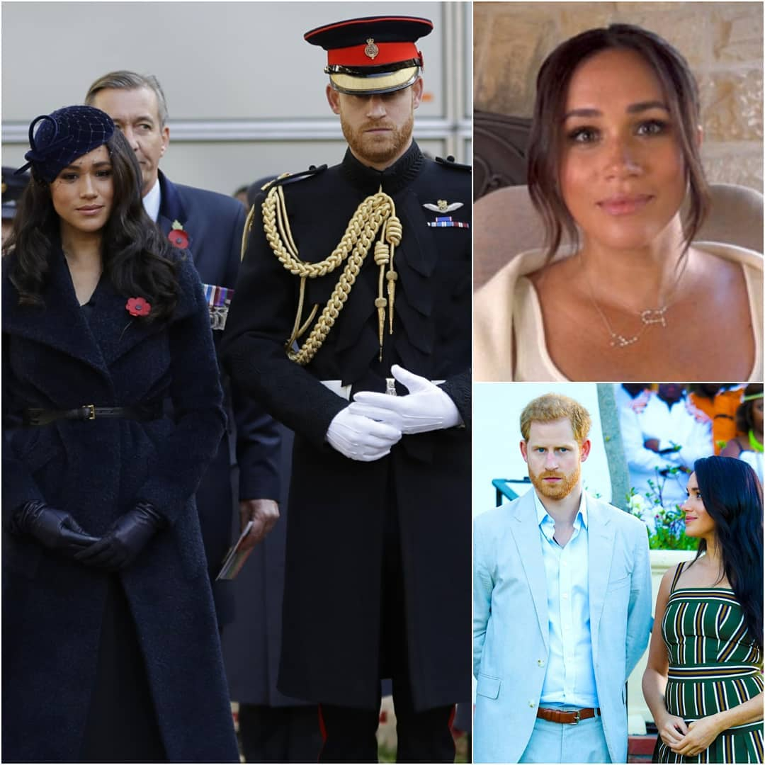 Collage of 3 photos of Harry and Meghan