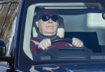 Prince Andrew takes his hands off the steering wheel while driving in Windsor