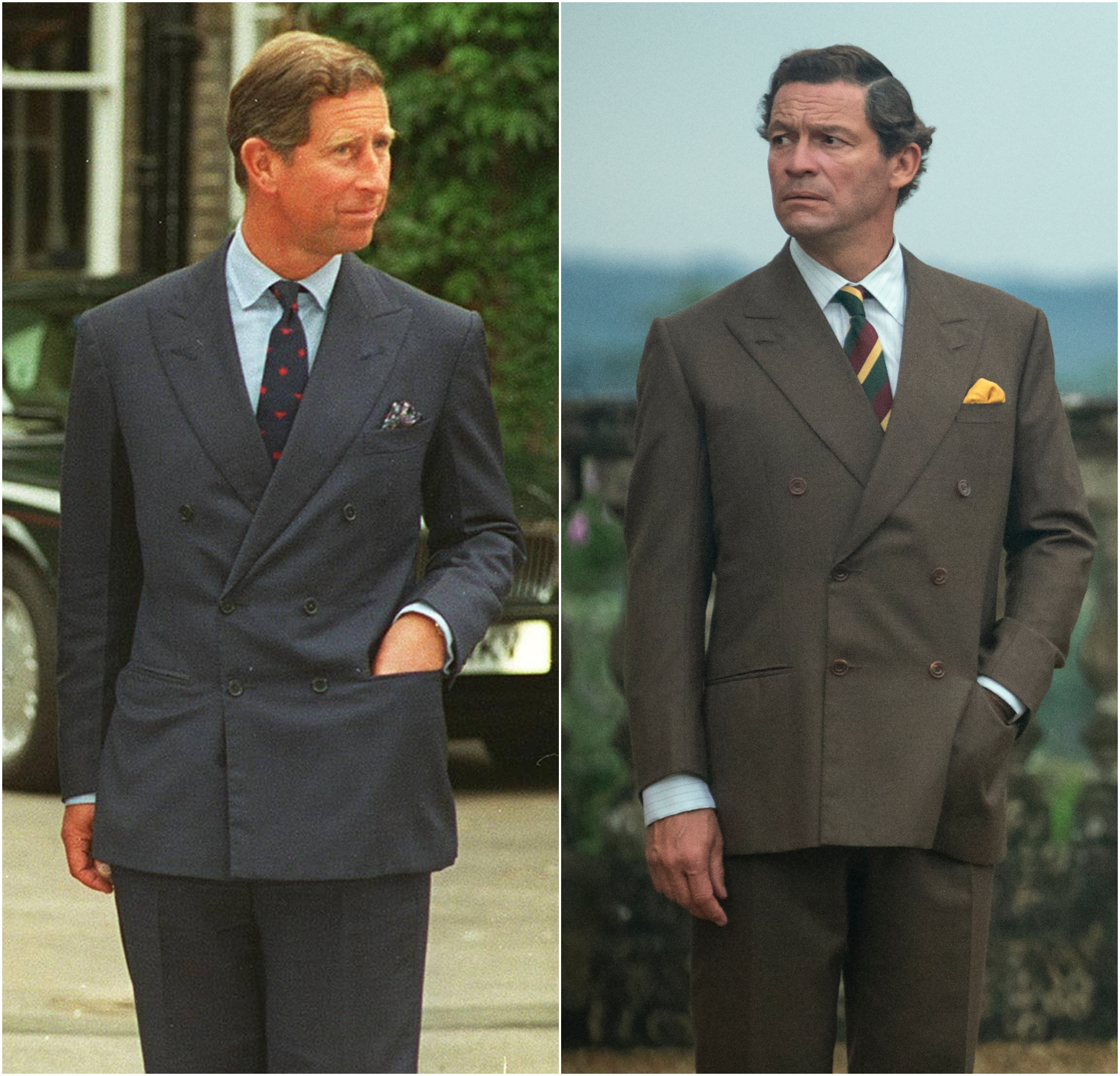 Prince Charles in 1995 next to a still of Dominick West as Prince Charles in The Crown