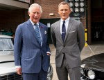 Britain's Prince Charles, Prince of Wales poses with British actor Daniel Craig as he tours the set of the 25th James Bond Film at Pinewood Studios in Iver Heath, west of London, on June 20, 2019. - The Prince of Wales, Patron, The British Film Institute