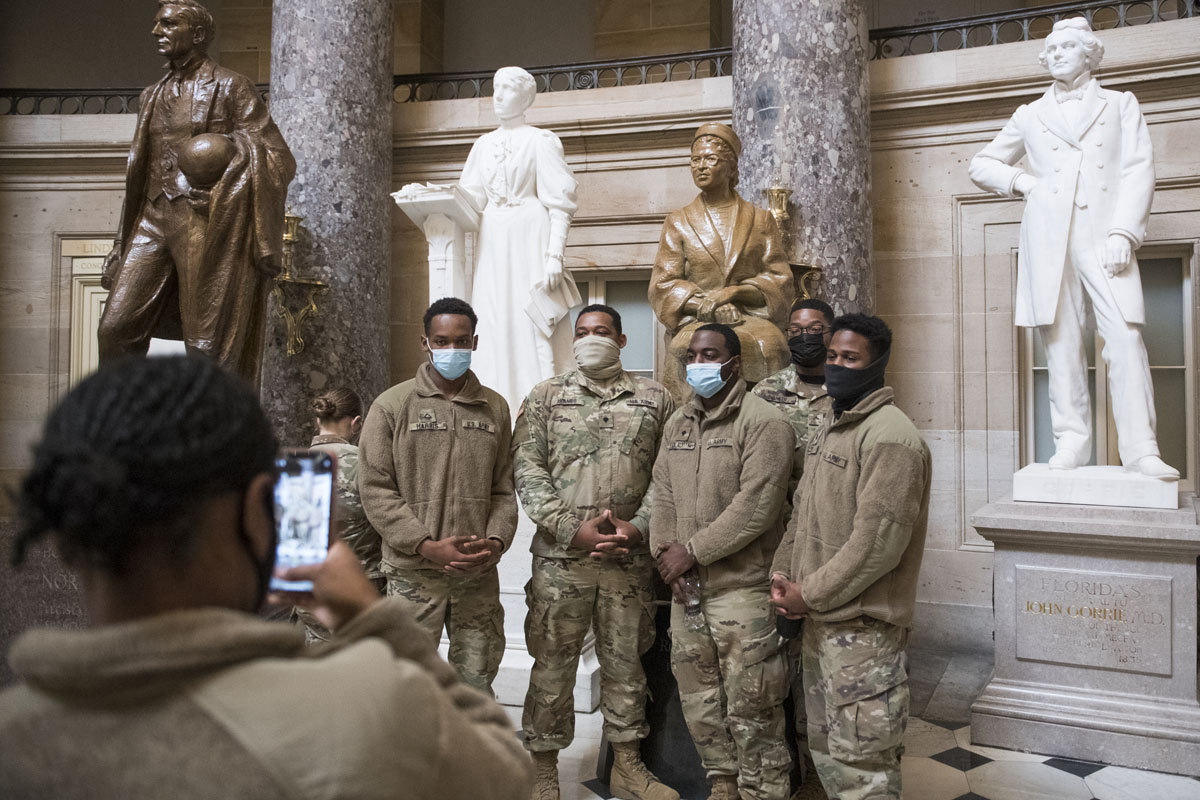 National Guardsmen protect the Capitol