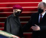 Prince Albert II of Monaco and Princess Charlene of Monaco at the Sainte Devote Mass