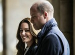 Britain's Catherine, Duchess of Cambridge and Britain's Prince William, Duke of Cambridge visit the University of St Andrews in St Andrews on May 26, 2021.