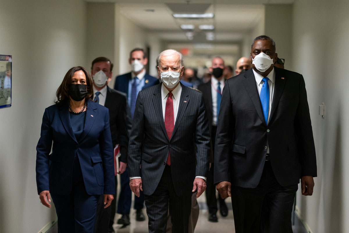 President Joe Biden and Vice President Kamala Harris, joined by Secretary of Defense Lloyd Austin, tour the Pentagon Wednesday, Feb. 10. 2021, in Arlington, Virginia.
