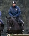 Prince Andrew looks at ease riding in Windsor Park