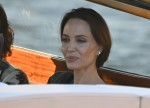 The American Actress Angelina Jolie spotted in the city of love and heads to a restaurant via a taxi boat in Venice.