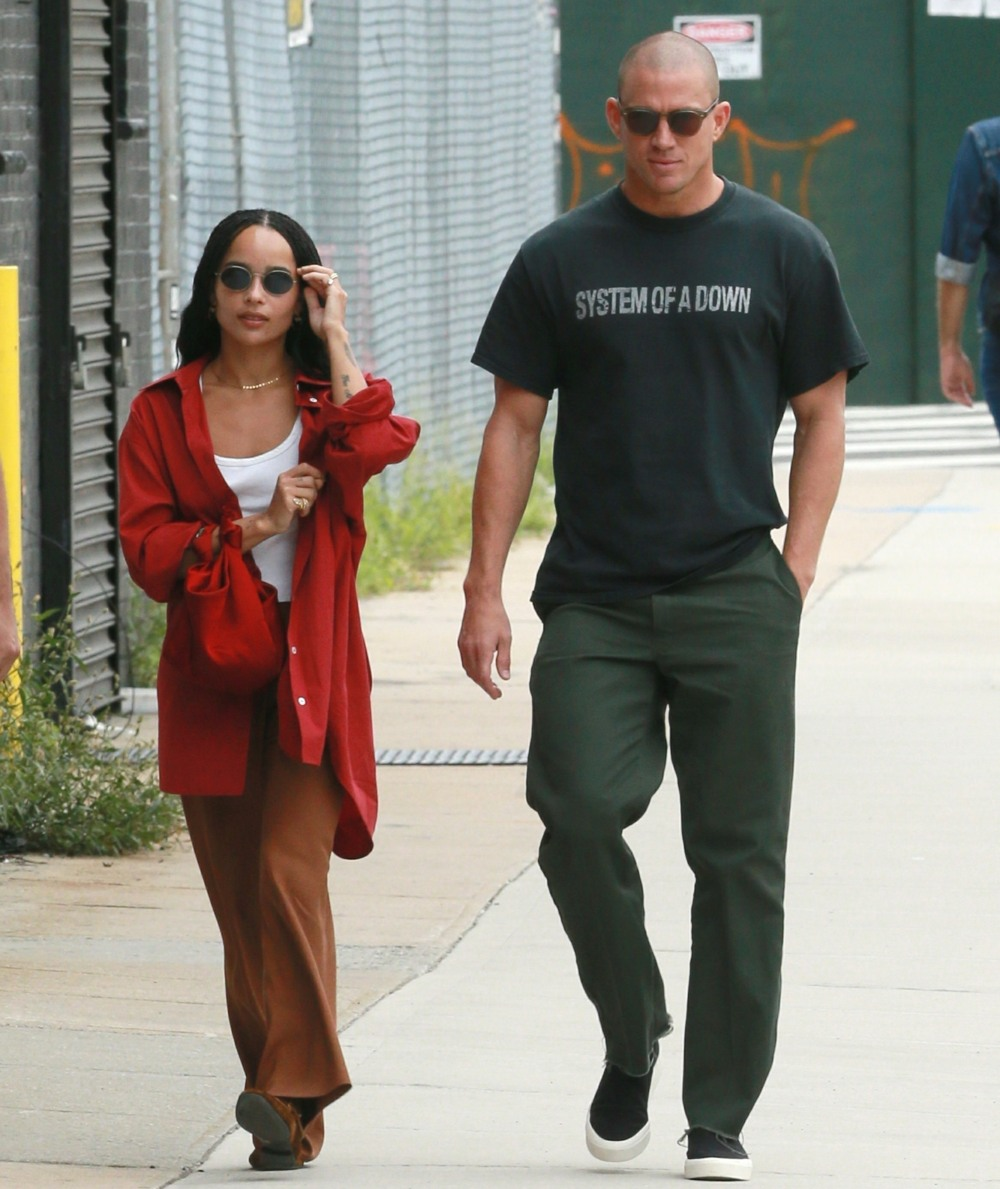 Zoe Kravitz and Channing Tatum take a walk after having lunch with a friend