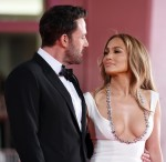 """Ben Affleck and Jennifer Lopez attend the red carpet of """"The Last Duel"""" during the 78th Venice International Film Festival"""