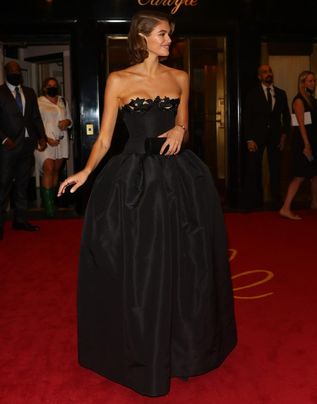 Kaia Gerber departs from the Carlyle Hotel for the MET Gala